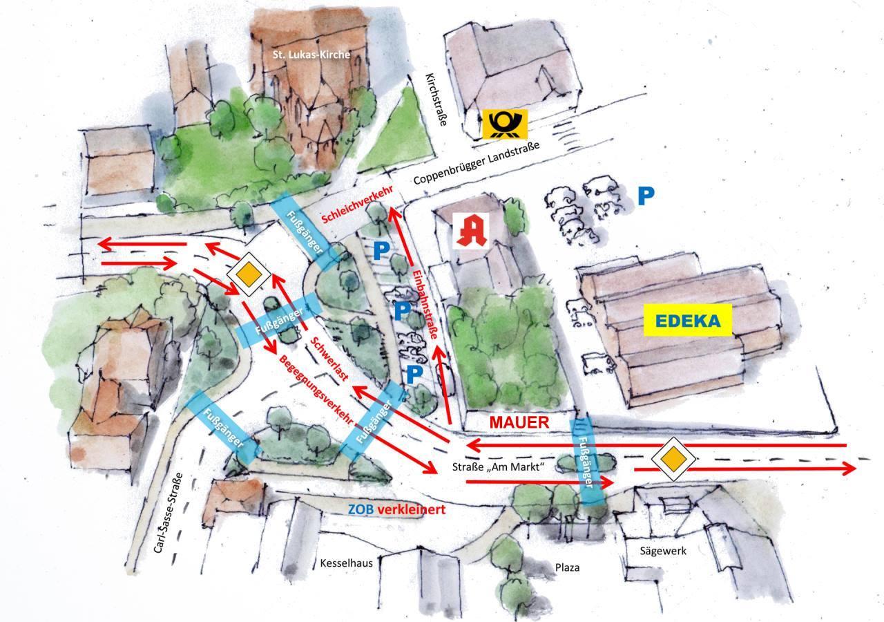 Verkehrsplanung von Vorvorgestern in Lauenau